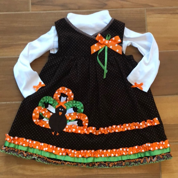 Bonnie Jean Girls Turkey Fall Thanksgiving Holiday 2 Pieces Outfit 2T 3T 4T NWT